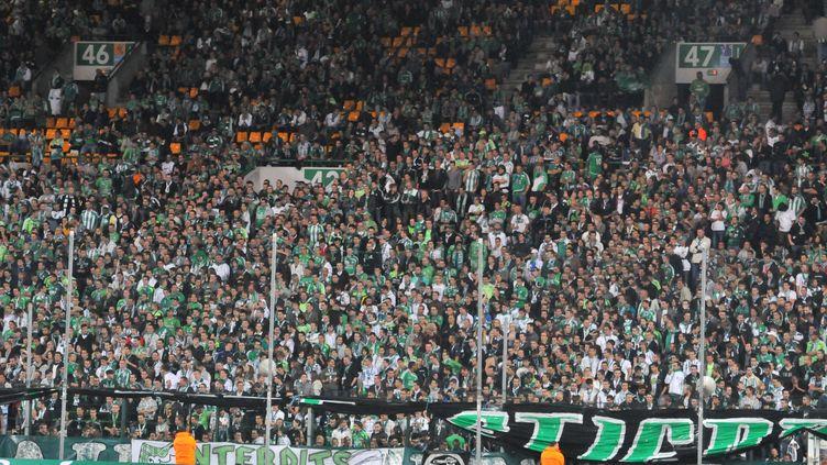 Des supporters deSaint-Etienne, dans les tribunes du stadeGeoffroy-Guichard, le 2 octobre 2010. (MOURAD ALLILI / CITIZENSIDE / AFP)