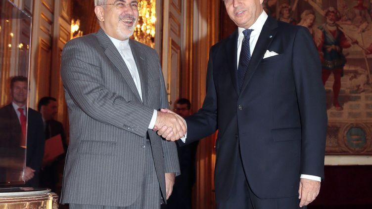 Le chef de la diplomatie iranienne,Mohammad Javad Zarif, et le ministre français des Affaires étrangères, Laurent Fabius, le 5 novembre 2013, au Quai d'Orsay, à Paris. (JACQUES DEMARTHON / AFP)