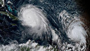 Image satellite des ouragans Irma et José, le 7 septembre 2017. (JOSE ROMERO / NOAA/RAMMB)