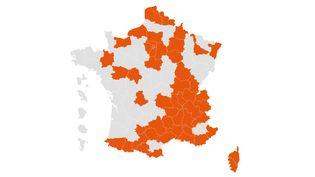 Carte des départements concernés par le couvre-feu (FRANCEINFO)