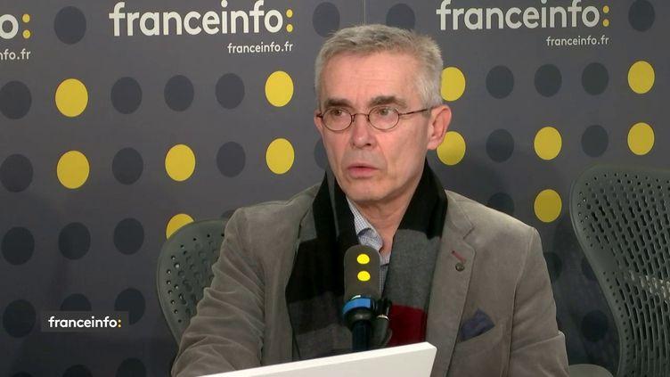 Le secrétaire général de Force ouvrière Yves Veyrier, invité sur franceinfo, le 16 janvier 2020. (FRANCEINFO / RADIO FRANCE)
