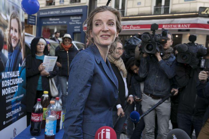 Nathalie Kosciusko-Morizet en campagne à Paris, le 6 juin 2017. (ROMUALD MEIGNEUX / SIPA)