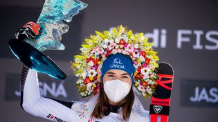 La Slovaque Petra Vhlova s'impose sur le géant de Jasna (Slovaquie), dimanche 7 mars 2021.  (VLADIMIR SIMICEK / AFP)
