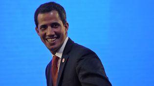Juan Guaido, qui s'est autoproclamé président par intérim du Venezuela, à Caracas, la capitale du pays, le 15 février 2019. (JUAN BARRETO / AFP)