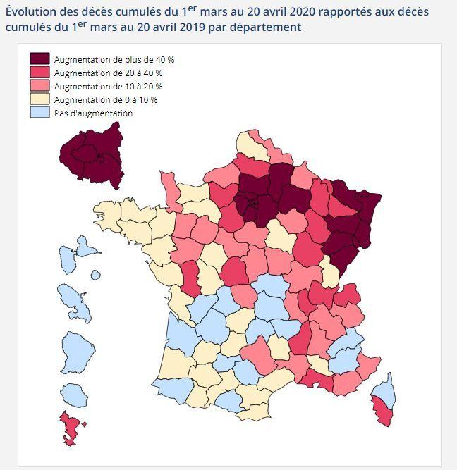 Evolution des décès cumulés du 1er mars au 20 avril 2020 rapportés aux décès cumulés du 1er mars au 20 avril 2019 par département. (INSEE)