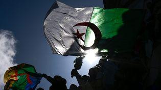 Un drapeau algérien lors d'une manifestion à Paris contre le cinquième mandat du président Bouteflika, le 10 mars 2019 (illustration). (JULIEN MATTIA / LE PICTORIUM / MAXPPP)