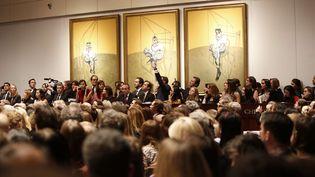"""""""Trois études de Lucian Freud"""", un triptyque de Francis Bacon datant de 1969, a été vendu 142,4 millions de dollars (105,9 millions d'euros) chez Christie's, à New York (Etats-Unis), le 13 novembre 2013. (AP / SIPA)"""