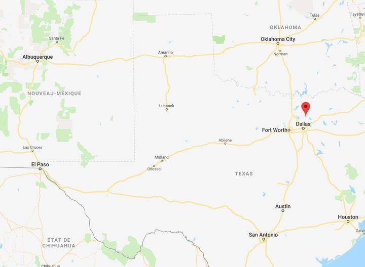 Allen, la petite bourgade qui se situe à côté de Dallas, se trouve à neuf heures de routes d'El Paso à l'Ouest. (CAPTURE ECRAN GOOGLE MAPS)