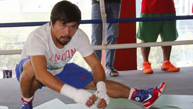 Le boxeur philippin Manny Pacquaio à l'entraînement