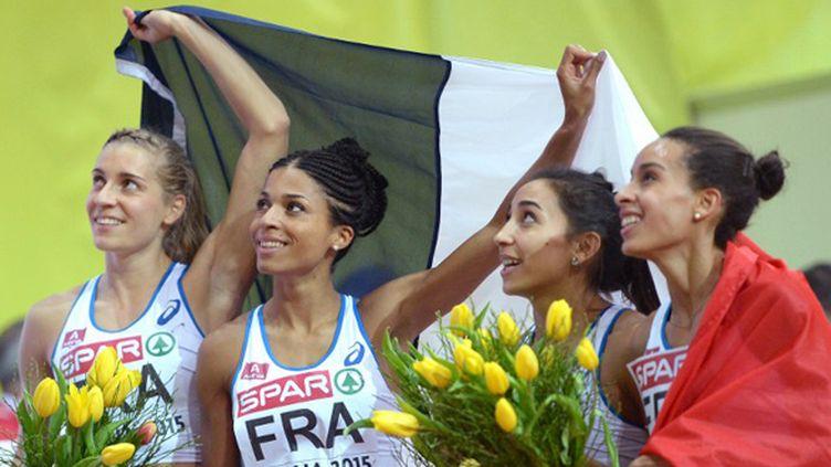 La joie des relayeuses françaises du 4x400 m (JOE KLAMAR / AFP)