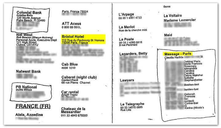 """Extrait du carnet d'adresses de Jeffrey Esptein. Dans la partie France, on retrouve la colonne """"massage Paris"""". (DR)"""