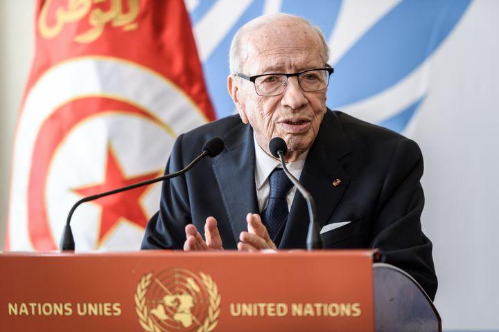 Le président tunisien, Béji Caïd Essebsi, lors de sa visite au Conseil des droits de l'Homme de l'ONU à Tunis le 25 février 2019. (FABRICE COFFRINI / AFP)