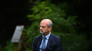 Le ministre de l'Education nationale, Jean-Michel Blanquer, le 27 août 2021lors d'une conférence de presse à Paris. (CHRISTOPHE ARCHAMBAULT / AFP)