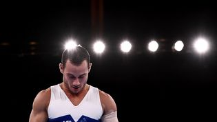 Samir Aït Saïd, lors de la finale de l'épreuve des anneaux, le 2 août 2021 à Tokyo. (JEFF PACHOUD / AFP)