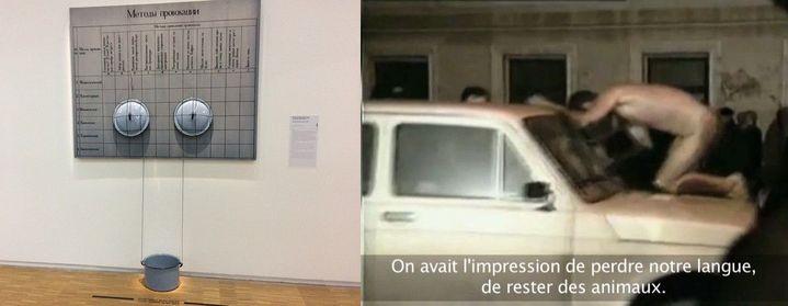 «Les méthodes de provocation» par le collectif Pertsy, années 70 - 1994 : «Le chien fou», performance d'Oleg Koulik. (DR/Beaubourg//capture d'écan/lesoir.be)