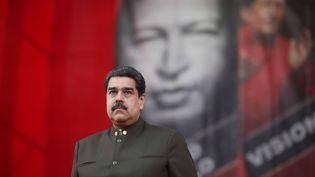 Le président vénézuelienNicolas Maduro, lors d'une parade militaire, à Caracas (Venezuela), le 16 janvier 2018. (REUTERS)
