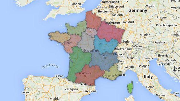 Capture d'écran d'une carte Google Maps où francetv info a tracé le redécoupage de la France en 13 régions définitivement adopté le 17 décembre 2014 par le Parlement. (GOOGLE MAPS / FRANCETV INFO)