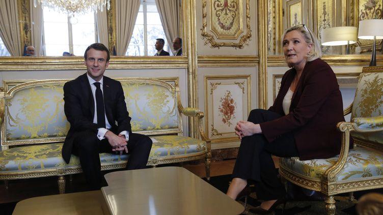Le président Emmanuel Macron et lacheffe du Rassemblement national, Marine Le Pen, le 6 février 2019 à l'Elysée à Paris. (PHILIPPE WOJAZER / AFP)