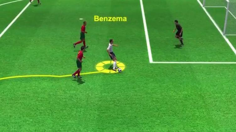 Karim Benzema a inscrit son deuxième but de la soirée face au Portugal auretour des vestiaires. (Droits réservés)