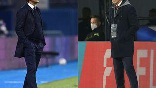 L'entraîneur de la Croatie Zlatko Dalic et l'entraîneur de la République Tchèque Jaroslav Silhavy. (DENIS LOVROVIC / AFP)