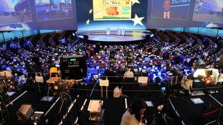 L'hémicycle du Parlement européen à Bruxelles, durant les élections du 25 mai 2014. (GEORGES GOBET / AFP)