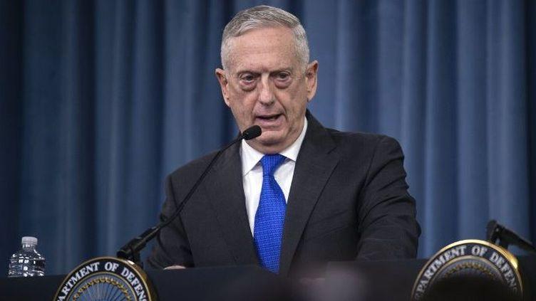 James Mattis, le ministre américain de la Défense, lors d'une conférence de presse au Pentagone, le 28 août 2018. (NICHOLAS KAMM / AFP)