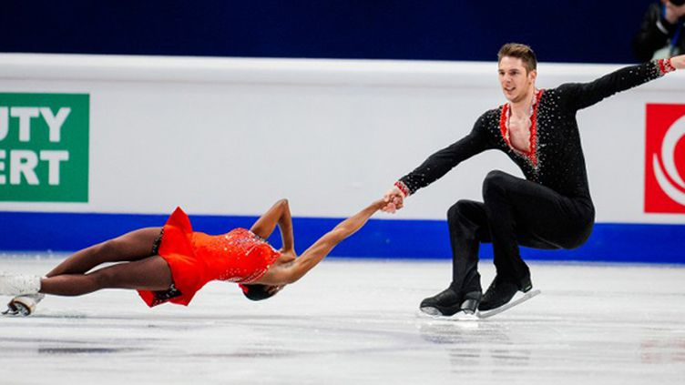 Le couple français Vanessa James - Morgan Ciprès (JONATHAN NACKSTRAND / AFP)