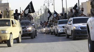 Des jihadistes de l'Etat islamique défilent dans les rues de Raqqa (Syrie), en juin 2014. (REUTERS)