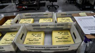 Des bulletins de vote à Miami en Floride, mercredi 3 novembre 2020, jour de l'élection présidentielle américaine. (CHANDAN KHANNA / AFP)