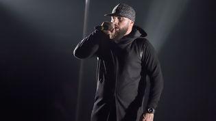 Le rappeur Médine, lors d'un concert organisé le 26 mai 2017 à la Cigale, à Paris. (SADAKA EDMOND / SIPA)