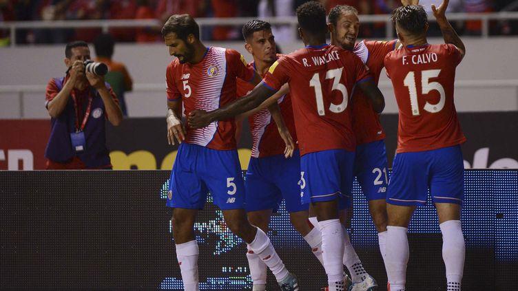 La joie des Costaricains,proches de se qualifier pour le Mondial 2018 en Russie (CARLOS GONZALEZ / AFP)