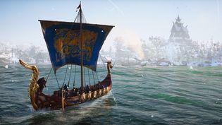 Un drakkar viking dans le jeu vidéo Discovery Tour Viking Age sorti en octobre 2021. (FRANCEINFO)