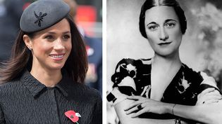 Meghan Markle en 2018 et Wallis Simpson, the Duchess of Windsor, en 1936  (3rd December 1936: Wallis Simpson (1896 - 1986), the Duchess of Windsor. Hulton Archive/Getty Images))