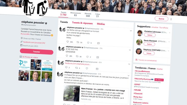 Sur son compte Twitter, l'ancien candidat de La France insoumise aux élections législatives Stéphane Poussier s'est réjoui, samedi 24 mars 2018, de la mort du lieutenant-colonel Arnaud Beltrame. (TWITTER)