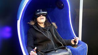 """Un jeu vidéo en 3D présenté au Salon """"Virtuality Paris 2017"""". (CHESNOT / GETTY IMAGES EUROPE)"""