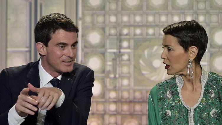 Manuel Valls et la princesse Lalla Meryem à l'Institut du monde arabe (Paris) le 1er février 2015 (Lionel Bonaventure/AFP)