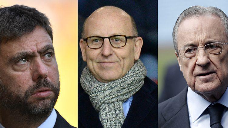 Florentino Perez, président du Real Madrid, Andrea Agnelli, président de la Juventus, et Joel Glazer, président de Manchester United