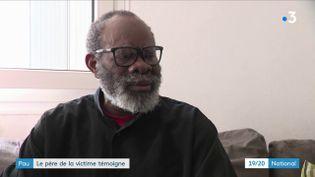 André Nébié,le père de l'homme de 32 ans battu à mortpar des adolescents à Pau, face à une caméra de France 3. (FRANCE 3)