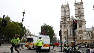 Des policiers établissent un cordon de sécurité autour du Parlement britannique, à Londres, sur les grilles duquel une voiture a foncé, le 14 août 2018. (HANNAH MCKAY / REUTERS)