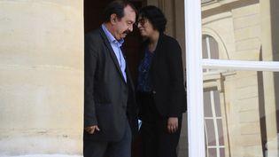 Le secrétaire général de la CGT, Philippe Martinez, et la ministre du Travail, Myriam El Khomri, le 17 juin 2016 au ministère du Travail à Paris. (AFP)