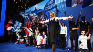 Marine Le Pen, candidate du FN à la présidentielle, lors de la traditionnelle galette des rois du parti, à Saint-Denis (Seine-Saint-Denis) le 8 janvier 2012. (FRANCOIS LAFITE / WOSTOK PRESS / MAXPPP FRANCE)