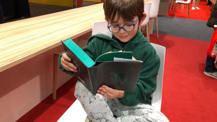 Le petit Louison profite du Salon de littérature jeunesse de Montreuil pour se plonger dans Harry Potter. (Manon Botticelli / Franceinfo Culture)