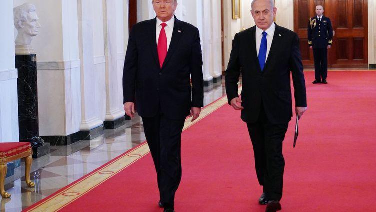 """Donald Trump a annoncé son """"plan de paix"""" pour le Proche-Orient aux côtés du Premier ministre israélien Benjamin Netanyahou à la Maison Blanche. (MANDEL NGAN / AFP)"""