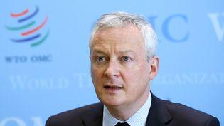Le ministre de l'Economie, Bruno Le Maire, lors d'une conférence de presse, à Genève (Suisse), le 1er avril 2021. (DENIS BALIBOUSE / AFP)