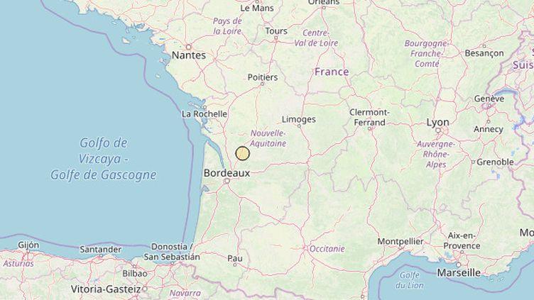 Capture d'écran de la localisation du séisme du 20 mars en Gironde, sur le site duRéseau National de Surveillance Sismique (RéNaSS). (RENASS / FRANCETV INFO)