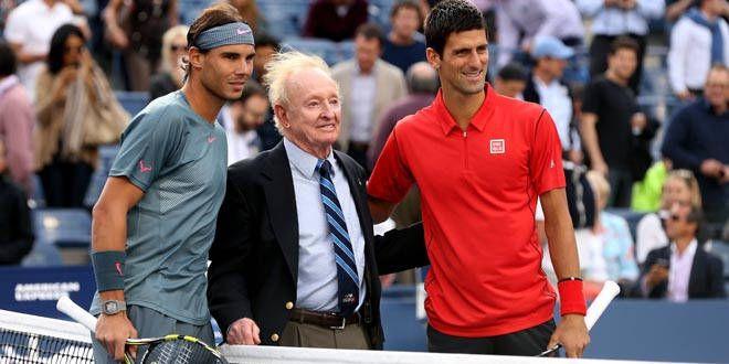 Rafael Nadal, Rod Laver et Novak Djokovic à l'US Open 2013