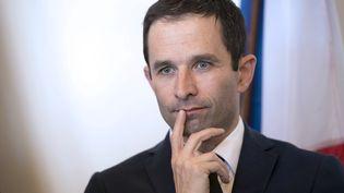 Le ministre de l'Education nationale, Benoît Hamon, le 17 avril 2014 àMaxéville (Meurthe-et-Moselle). (AFP)