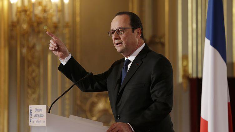 Le président de la République, François Hollande, s'exprime lors d'une conférence de presse semestrielle, au palais de l'Elysée, à Paris, le 5 février 2015. ( PHILIPPE WOJAZER / REUTERS)