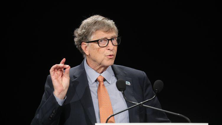 Le fondateur de Microsoft Bill Gates lors d'une conférence à Lyon (Rhône), le 10 octobre 2019. (LUDOVIC MARIN / AFP)