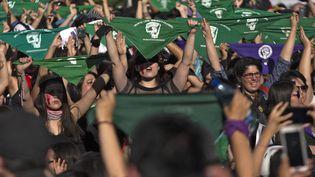Des militantes féministes brandissent des mouchoirs verts en faveur de la dépénalisation de l'avortement lors d'une manifestation à Santiago, le 29 novembre 2019. Photo d'illustration. (CLAUDIO REYES / AFP)